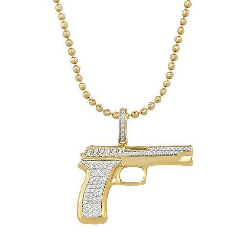 Yellow Diamond Pistol Pendant in 10k Yellow Gold 1 Ctw