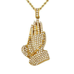 Diamond Praying Hands Pendant in 14k Yellow Gold 4 Ctw