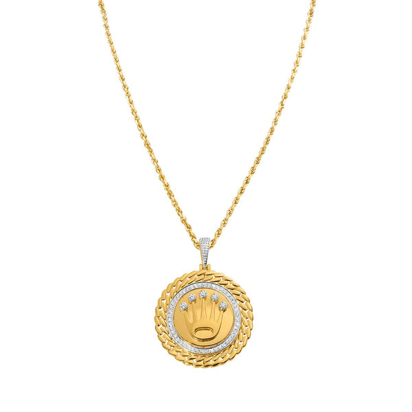 Yellow Diamond Rolex Pendant in 14k Yellow Gold 0.35 Ctw