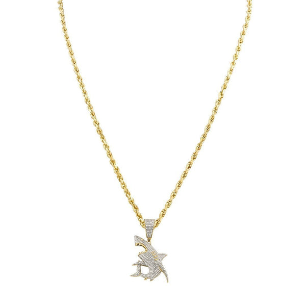 Yellow Diamond Shark Pendant in 10k Yellow Gold 0.95 Ctw