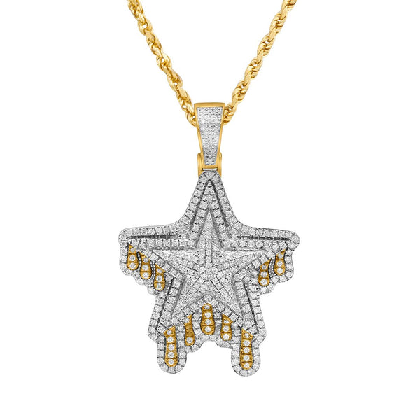 Yellow Diamond Shooting Star Pendant in 14k Yellow Gold 1.24 Ctw