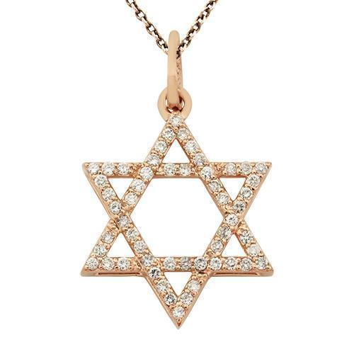 Rose Diamond Star of David Pendant in 14k Rose Gold 0.9 Ctw