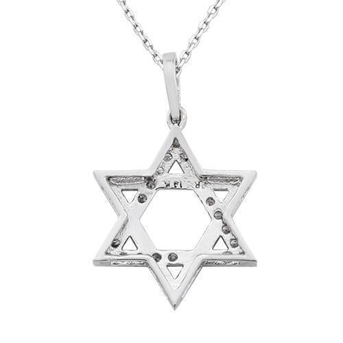 White Diamond Star of David Pendant in 14k White Gold 0.75 Ctw