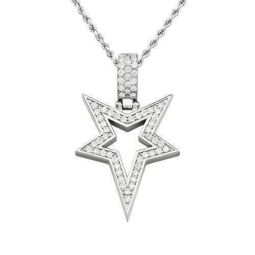 Diamond Star Pendant in 14k White Gold 1.75 Ctw