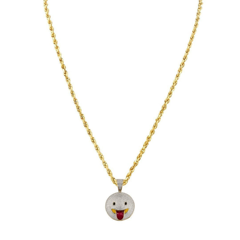 Yellow Diamond Stuck-Out Tongue Emoji Pendant in 10k Yellow Gold 0.92 Ctw