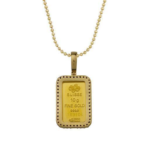 Diamond Suisse Fortuna Gold Bar Pendant in 14k Yellow Gold 1.25 Ctw