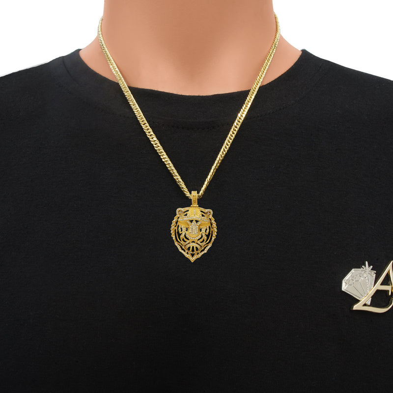 Diamond Tiger Pendant in 14k Yellow Gold 4 Ctw