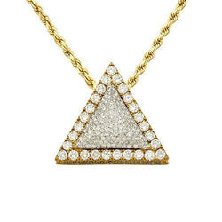 "Diamond ""Triangle"" Pendant in 14k Yellow Gold 4.50 Ctw"
