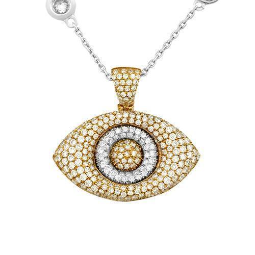 Diamond Two Tone Evil Eye Pendant in 14k Gold 2 Ctw