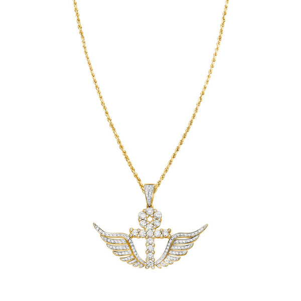 Yellow Diamond Wing Cross Pendant in 14k Yellow Gold 2.02 Ctw