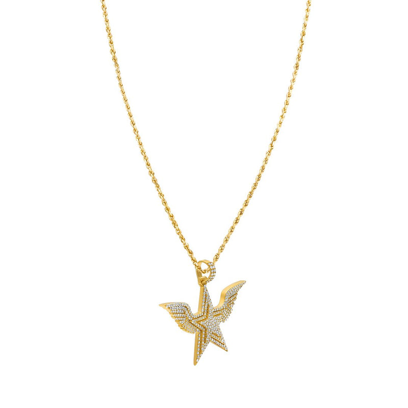 Yellow Diamond Wing Star Pendant in 14k Yellow Gold 3.84 Ctw
