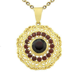Yellow Garnet Gemstone Vintage Style Pendant in 18k Yellow Gold 3 Ctw
