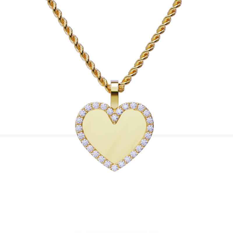 Heart Shaped Diamond Memory Charm Pendant in 14k Yellow Gold 0.56 ctw