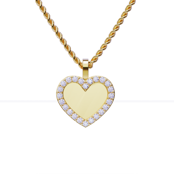 Heart Shaped Diamond Memory Charm Pendant in 14k Yellow Gold 0.75 ctw