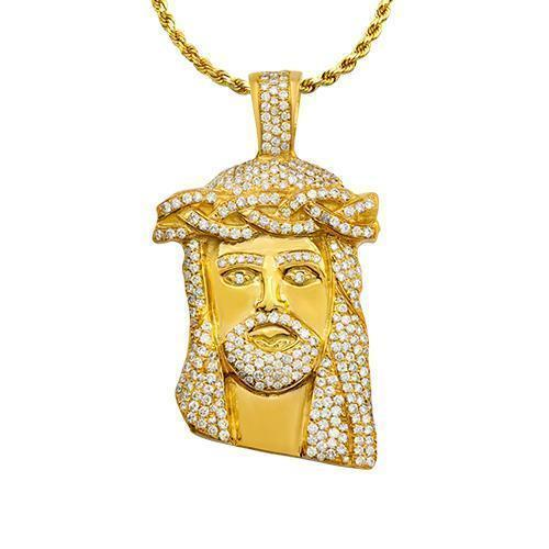 Jesus Head Pendant in 18k Yellow Gold 4 Ctw