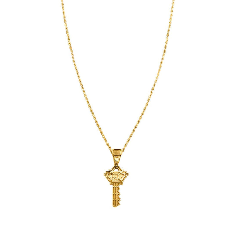 White , Yellow Key Pendant in 10k Gold .4 Ctw