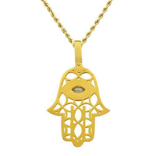 Marquise Natural Diamond Center Stone Hamsa Pendant in 14k Yellow Gold 2.14 Ctw
