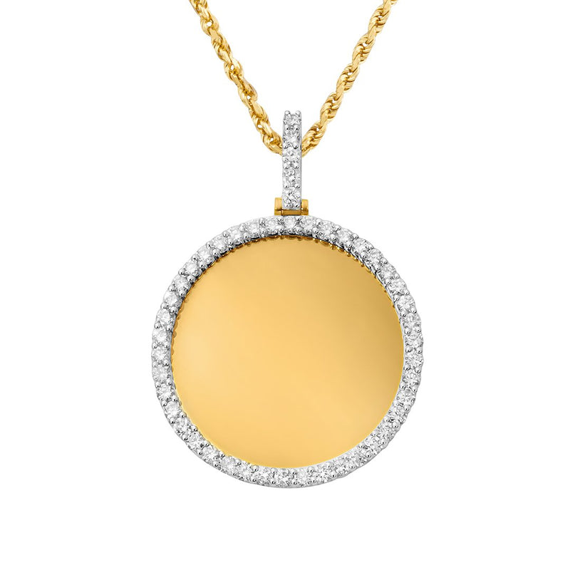 Medium Diamond Round Memory Pendant in 10k Yellow Gold 2.82 Ctw