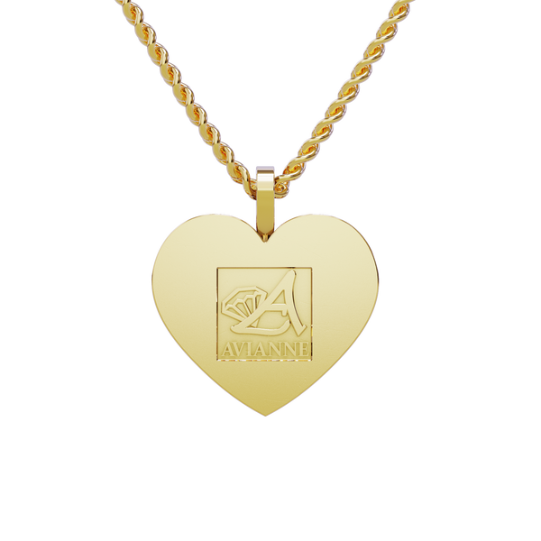 Medium Heart Shaped Memory Charm Pendant in 14k Yellow Gold