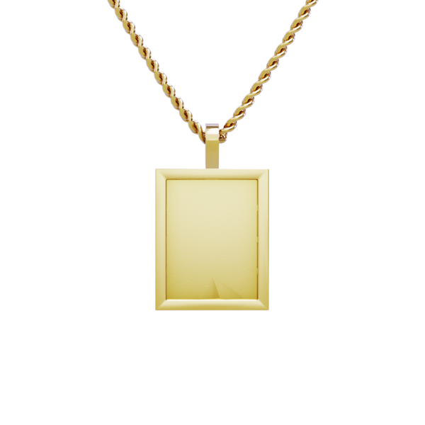 Medium Rectangle Shaped Memory Charm Pendant in 14k Yellow Gold