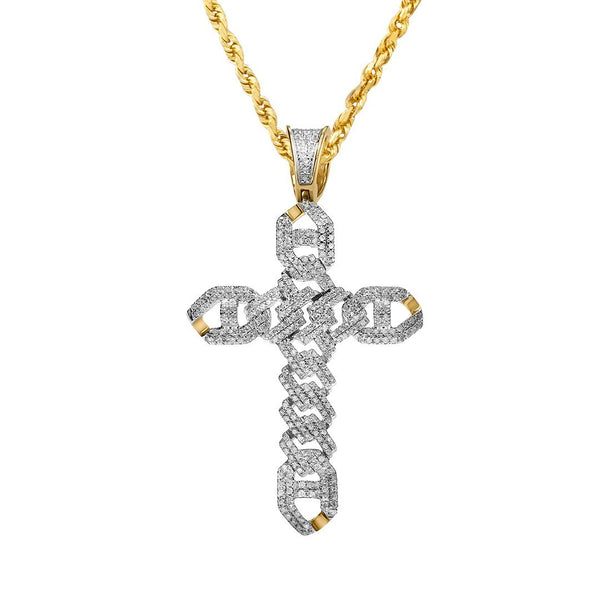 Yellow Modern Diamond Cross Pendant in 10k Yellow Gold .68 Ctw