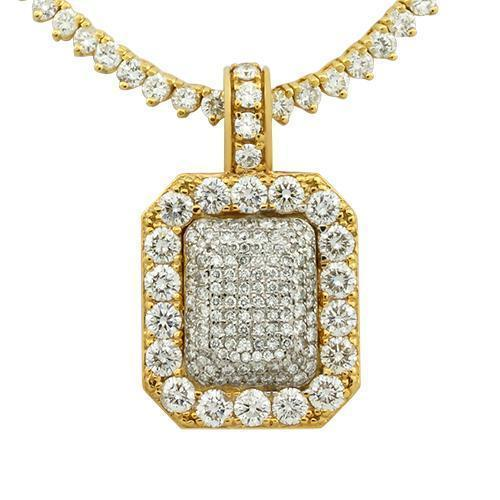 Pave Diamond Pendant in 14k Yellow Gold 5.29 Ctw
