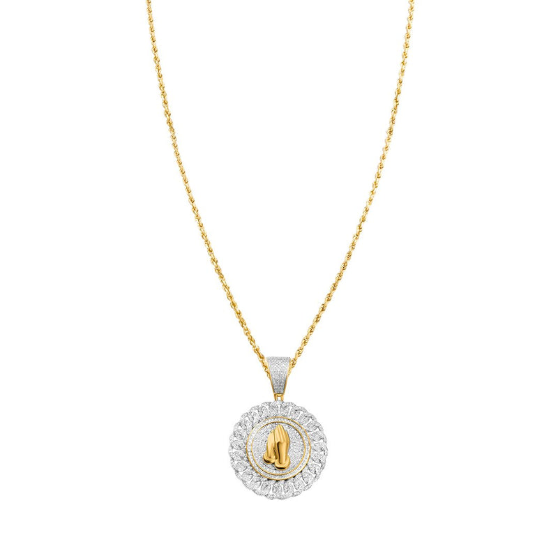 White , Yellow Prayer Hand Pendant in 10k Gold 1.3 Ctw