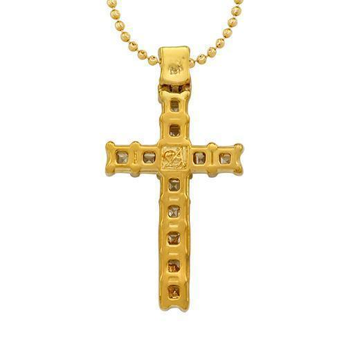 Princess Cut Diamond Cross Pendant in 18k Yellow Gold 1.75 Ctw