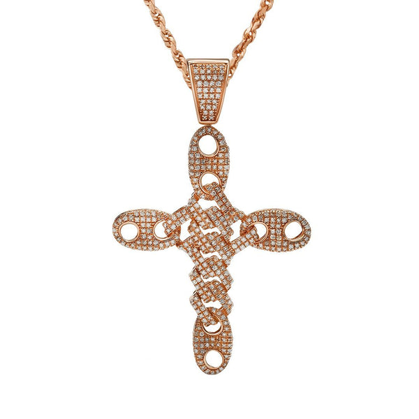 Yellow Puff Link Diamond Cross Pendant in 14k Yellow Gold 1.26 Ctw