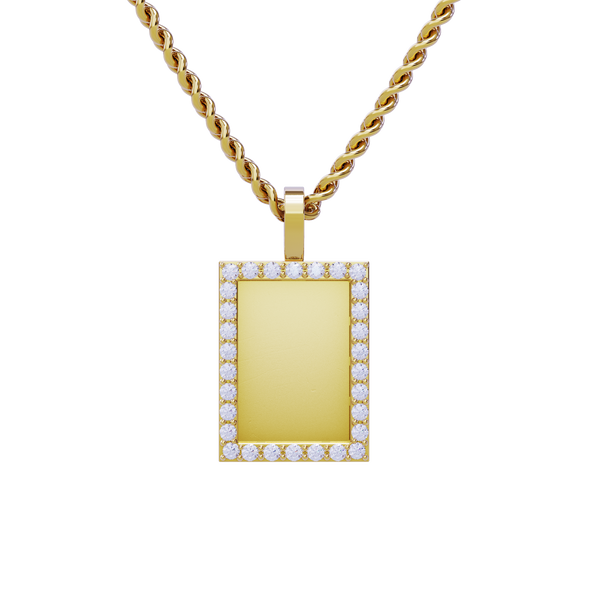 Rectangle Shaped Diamond Memory Charm Pendant in 14k Yellow Gold 0.75 ctw