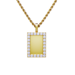 Rectangle Shaped Diamond Memory Charm Pendant in 14k Yellow Gold 0.98 ctw