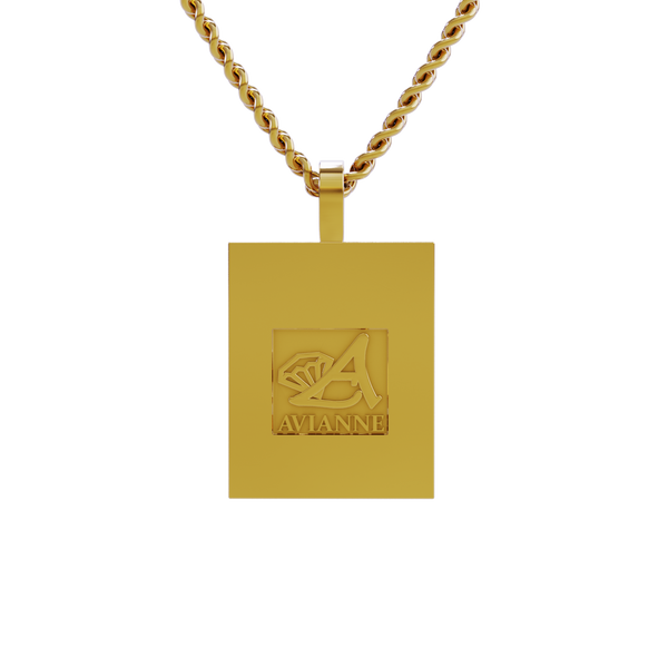 Rectangle Shaped Diamond Memory Charm Pendant in 14k Yellow Gold 1.30 ctw