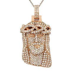 Solid Pave Diamond Jesus Head Pendant in 14k Rose Gold 4 Ctw