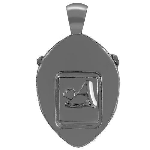 Sterling Silver Black Rhodium Plated Mens Custom Design Diamond Tiger Pendant With White And Black Diamonds 5.00 Ctw