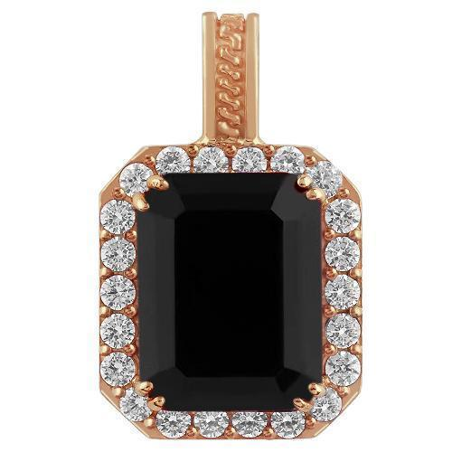 Sterling Silver Rose Gold Plated Semi-Precious Crystal Onyx  Pendant