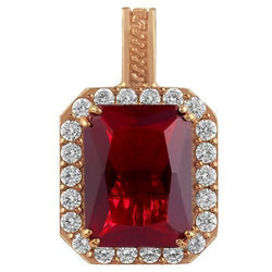 Sterling Silver Rose Gold Plated Semi-Precious Crystal Ruby Pendant