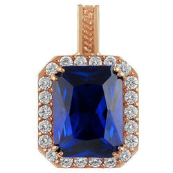 Sterling Silver Rose Gold Plated Semi-Precious Crystal Sapphire Pendant