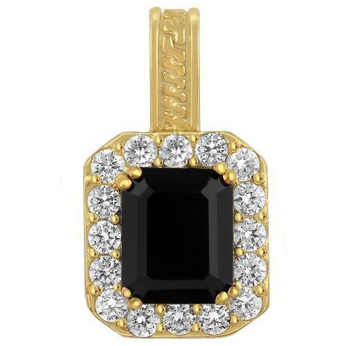 Sterling Silver Yellow Gold Plated Semi-Precious Crystal Onyx Pendant