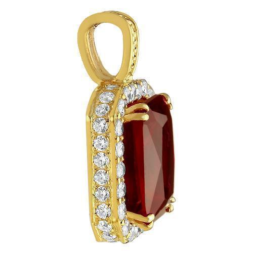Sterling Silver Yellow Gold Plated Semi-Precious Crystal Ruby  Pendant
