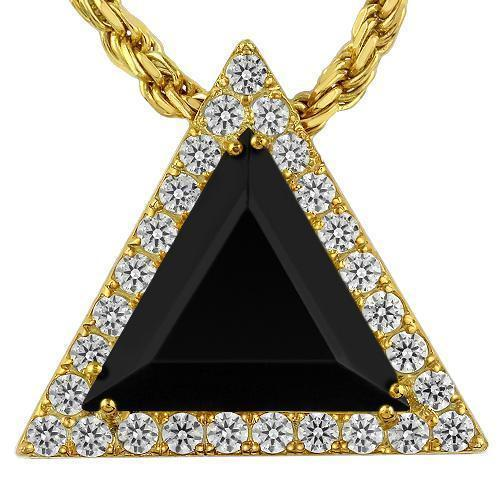 Triangular Sterling Silver Yellow Gold Plated Semi-Precious Crystal Onyx Pendant 13.00 Ctw