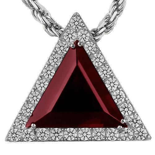 Triangular Sterling Silver Yellow Gold Plated Semi-Precious Crystal Ruby Pendant 13.00 Ctw