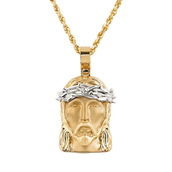 Two Tone 14k Gold Jesus Head Pendant
