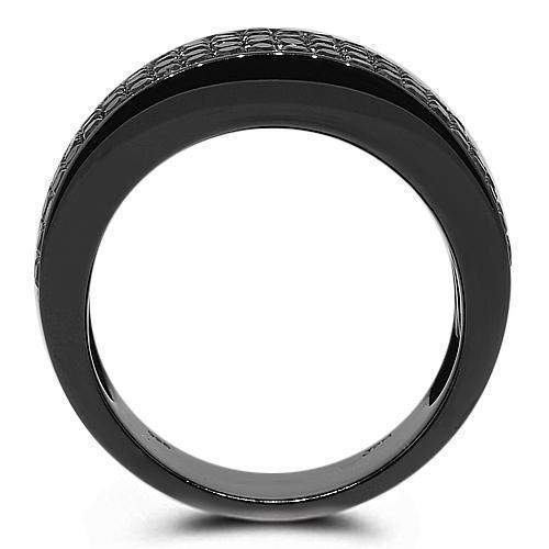 10K Solid Gold Black Rhodium Mens Black Diamond Wedding Ring Band 2.68 Ctw