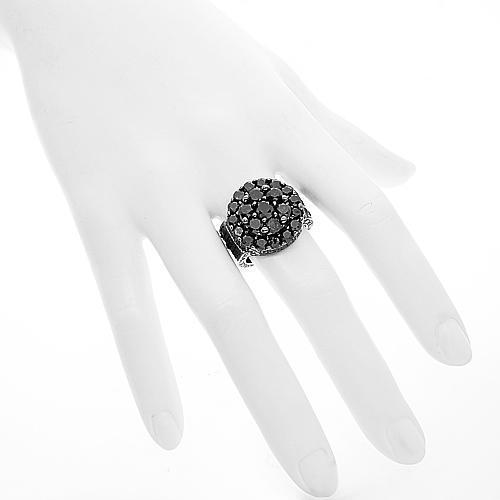 10K Solid Gold Black Rhodium Plated Mens Diamond Pinky Ring 14.89 Ctw