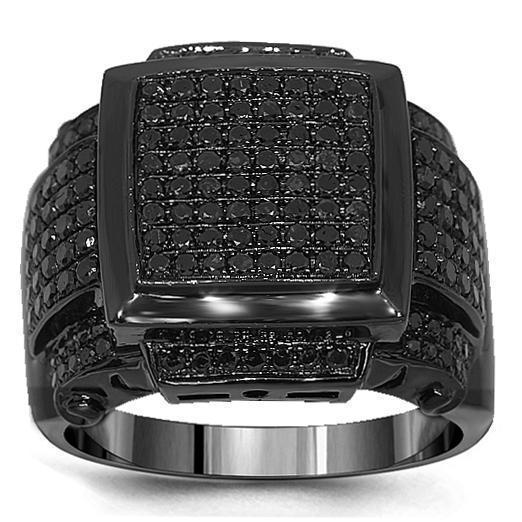 10K Solid Gold PVD Plated Mens Black Diamond Ring 2.53 Ctw