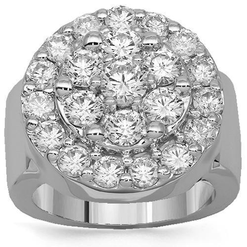10K Solid White Gold Mens Diamond Pinky Ring 4.80 Ctw