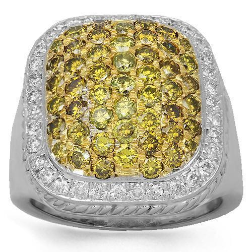 10K Solid White Gold Mens Diamond Ring with Yellow Diamonds 3.75 Ctw