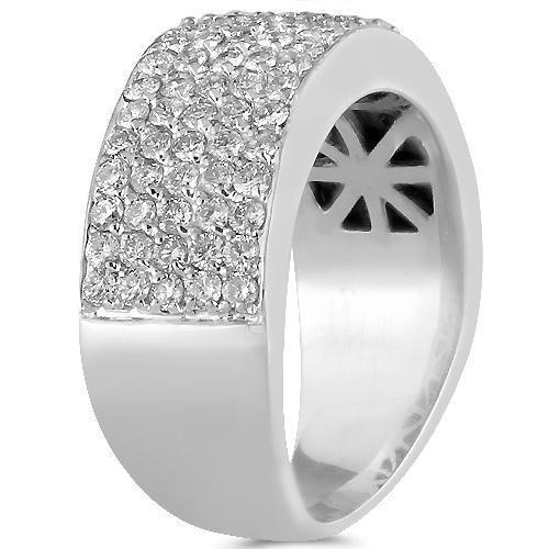 10K Solid White Gold Mens Diamond Wedding Ring Band 2.25 Ctw