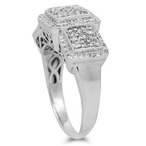10K Solid White Gold Womens Diamond Ring 1.50 Ctw