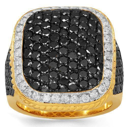 10K Solid Yellow Gold Black Diamond Rings for Men Collection Ring 6.50 Ctw